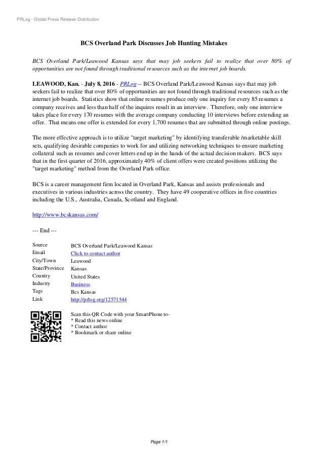 PRLog - Global Press Release Distribution BCS Overland Park Discusses Job Hunting Mistakes BCS Overland Park/Leawood Kansa...