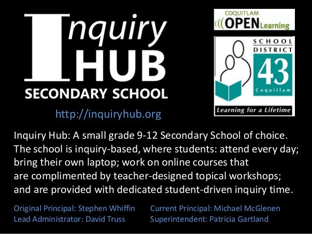 Inquiry Hub: A small grade 9-12 Secondary School of choice. The school is inquiry-based, where students: attend every day;...