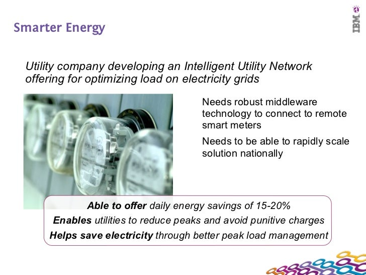 Smarter Energy Utility company developing an Intelligent Utility Network offering for optimizing load on electricity grids...