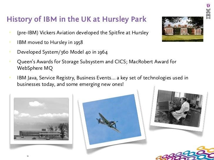 History of IBM in the UK at Hursley Park   (pre-IBM) Vickers Aviation developed the Spitfire at Hursley   IBM moved to Hu...