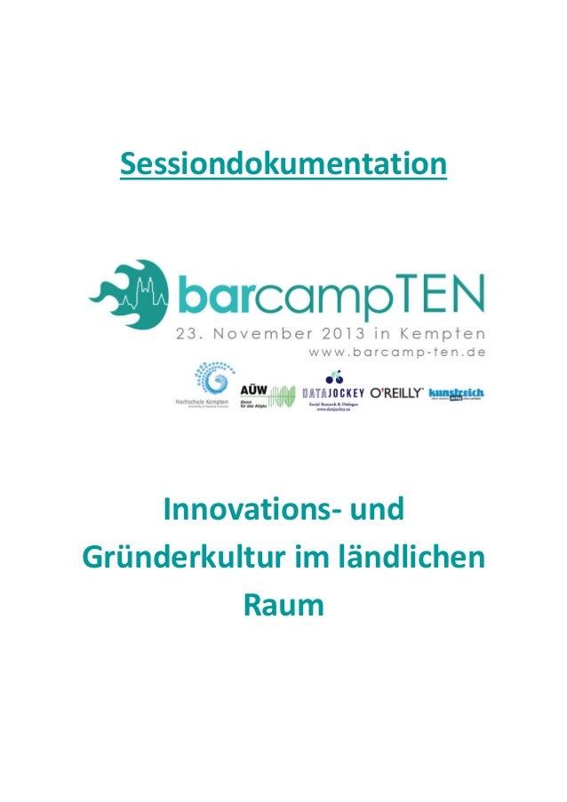 Sessiondokumentation  Innovations- und Gründerkultur im ländlichen Raum