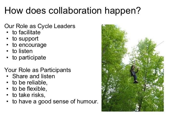 How does collaboration happen? <ul><li>Our Role as Cycle Leaders </li></ul><ul><ul><li>to facilitate  </li></ul></ul><ul>...