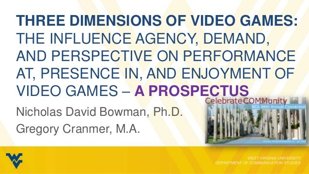 THREE DIMENSIONS OF VIDEO GAMES:THE INFLUENCE AGENCY, DEMAND,AND PERSPECTIVE ON PERFORMANCEAT, PRESENCE IN, AND ENJOYMENT ...