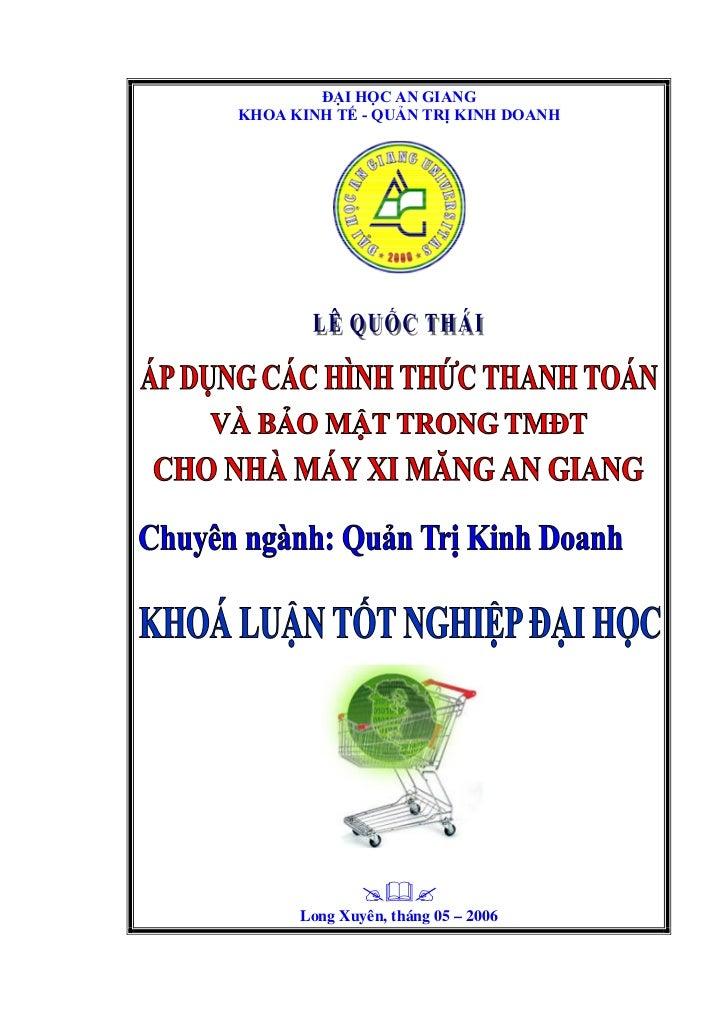 ĐẠI HỌC AN GIANGKHOA KINH TẾ - QUẢN TRỊ KINH DOANH                    Long Xuyên, tháng 05 – 2006