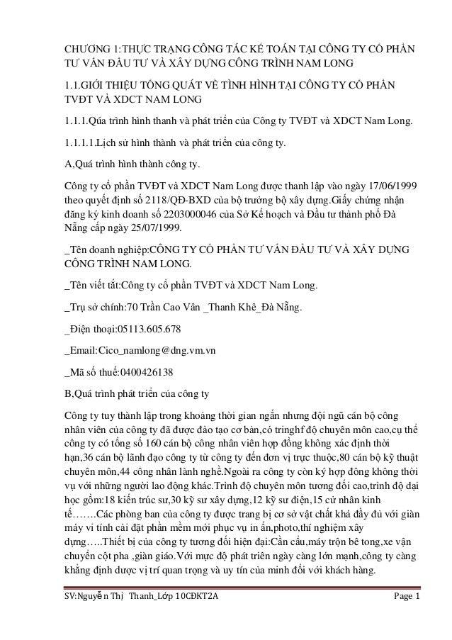 SV:Nguyễn Thị Thanh_Lớp 10CĐKT2A Page 1CHƢƠNG 1:THỰC TRẠNG CÔNG TÁC KẾ TOÁN TẠI CÔNG TY CỔ PHẦNTƢ VẤN ĐẦU TƢ VÀ XÂY DỰNG C...
