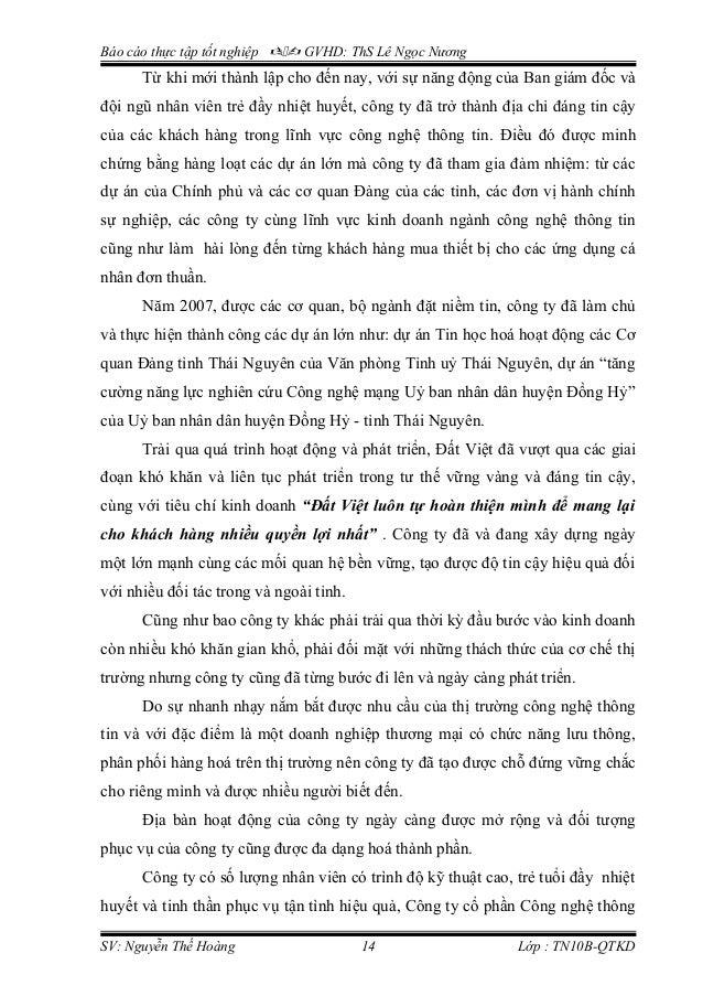 Báo cáo thực tập tốt nghiệp  GVHD: ThS Lê Ngọc Nương Từ khi mới thành lập cho đến nay, với sự năng động của Ban giám đố...