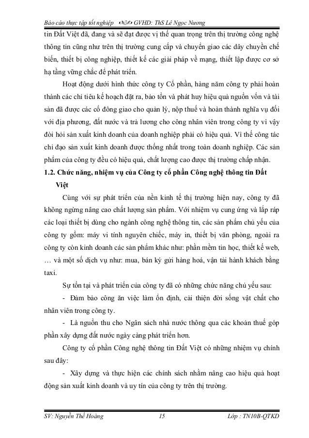 Báo cáo thực tập tốt nghiệp  GVHD: ThS Lê Ngọc Nương tin Đất Việt đã, đang và sẽ đạt được vị thế quan trọng trên thị tr...