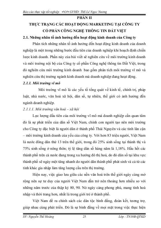 Báo cáo thực tập tốt nghiệp  GVHD: ThS Lê Ngọc Nương PHẦN II THỰC TRẠNG CÁC HOẠT ĐỘNG MARKETING TẠI CÔNG TY CỔ PHẦN CÔN...