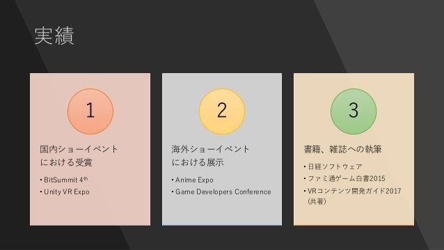実績 国内ショーイベント における受賞 • BitSummit 4th • Unity VR Expo 1 海外ショーイベント における展示 • Anime Expo • Game Developers Conference 2 書籍、雑誌への...