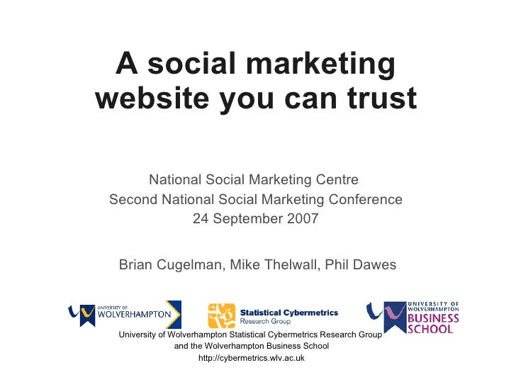 A social marketing website you can trust National Social Marketing Centre  Second National Social Marketing Conference 24 ...