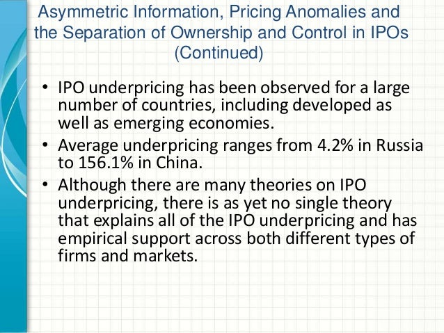 Information asymmetry and ipo underpricing hypothesis