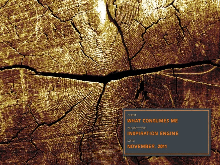 CLIENT:WHAT CONSUMES MEPROJECT TITLE:INSPIRATION ENGINEDATE:NOVEMBER, 2011