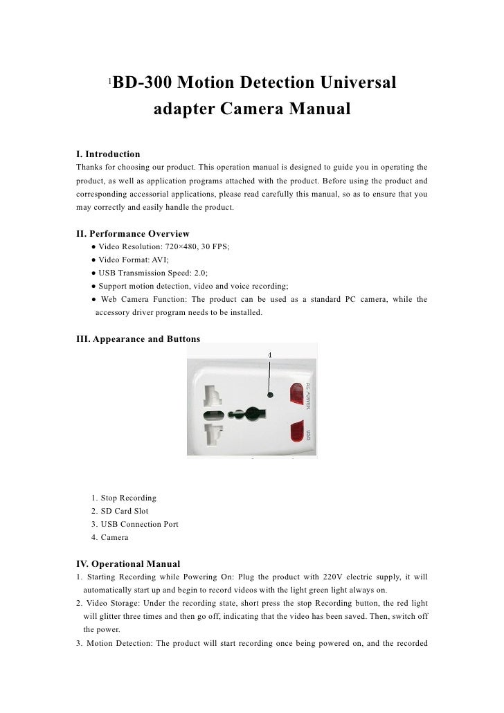 1BD-300 Motion Detection Universal               adapter Camera ManualI. IntroductionThanks for choosing our product. This...