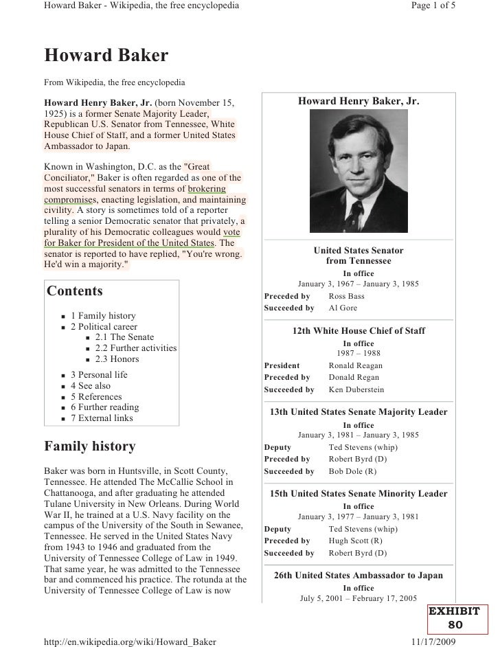 Howard Baker - Wikipedia, the free encyclopedia                                                 Page 1 of 5Howard BakerFro...