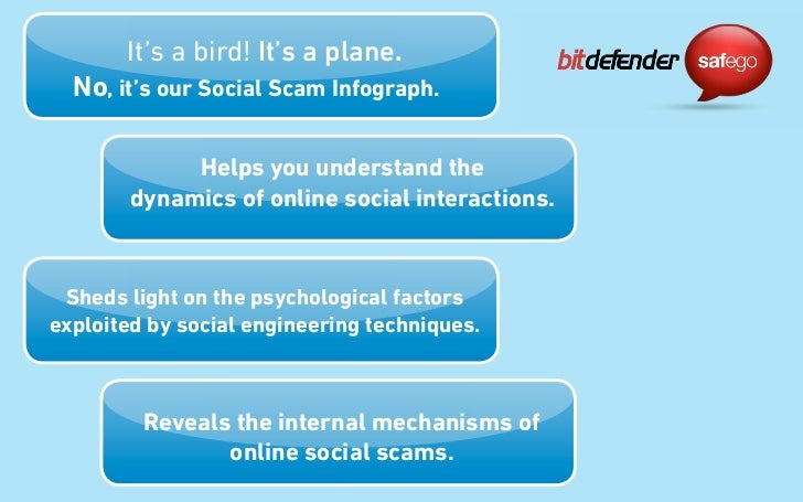 It's a bird! It's a plane.  No, it's our Social Scam Infograph.             Helps you understand the        dynamics of on...