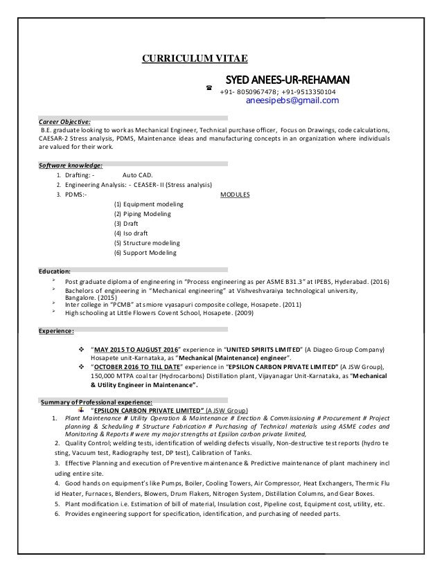 mechanical maintenance engineer cv