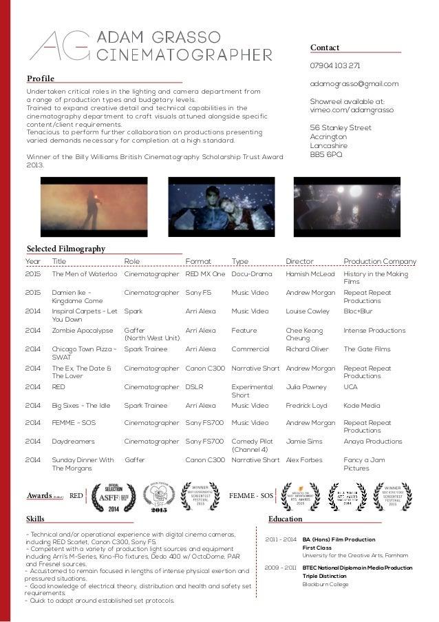 adam grasso cinematography resume