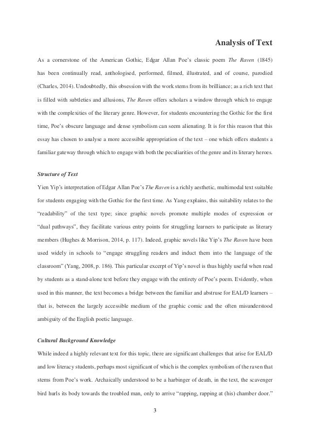 literary analysis of the raven The raven essay examples a literary analysis of the raven an analysis of symbols in the raven by edgar allan poe 768 words 2 pages.