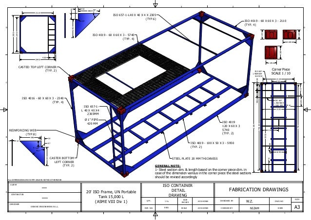 D005 Iso Container Frame on technical drawing notes