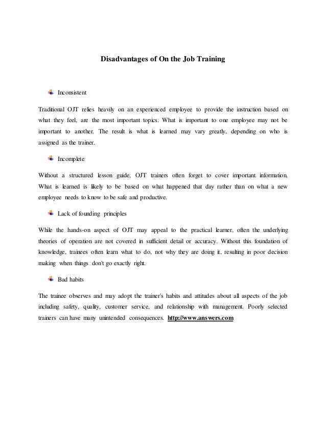 on job training report Coaching for on-the-job development page 2 of 23 training plan for goals #1 and ask them to report back to class what coaching for on-the-job development.