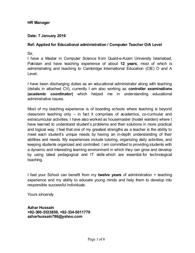 Cover Letter Cambridge University - Example cover letters
