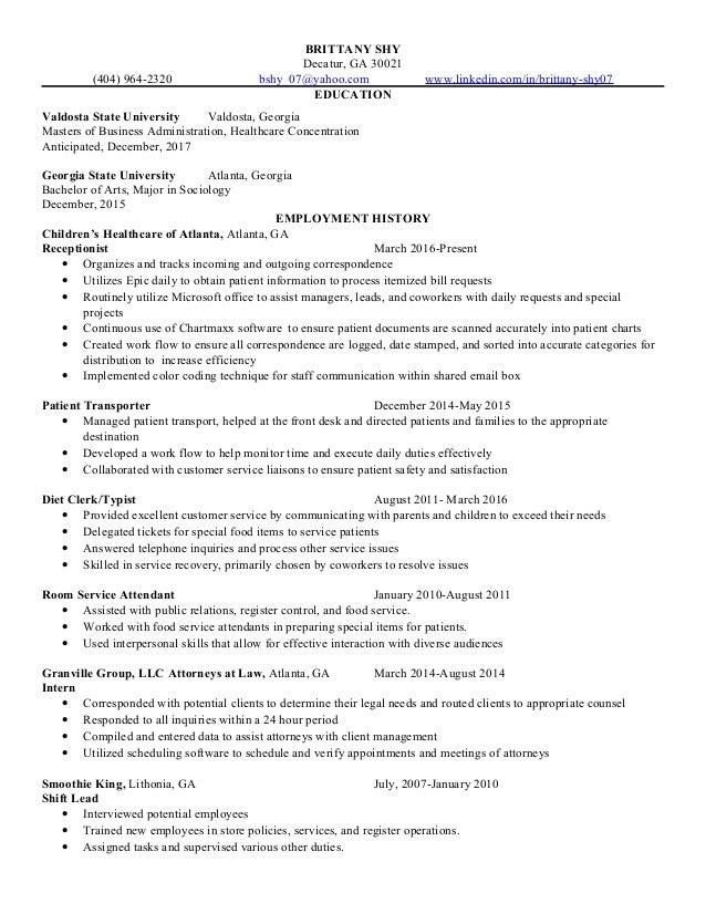 Brittany Shy Resume