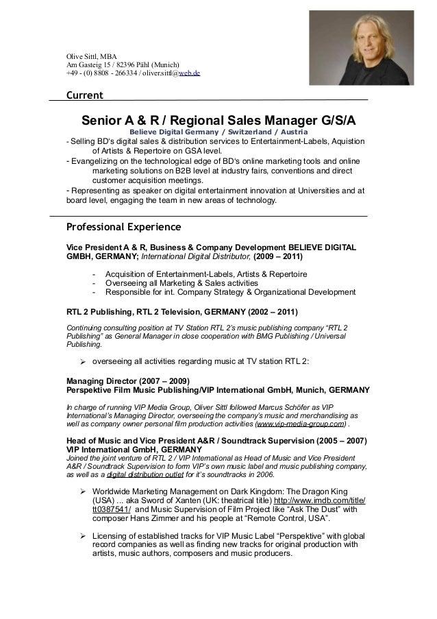 CV Oliver Sittl - Senior A & R : Region Manager G:S:A Believe Digital…