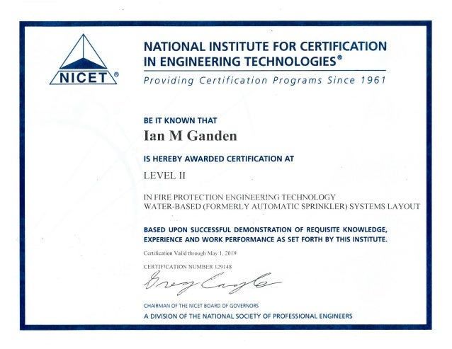 Nicet Ii Certification May 2019