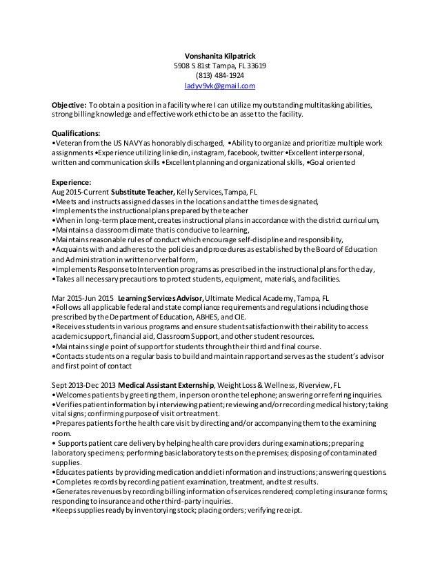 Vonshanita Kilpatrick 5908 S 81st Tampa, FL 33619 (813) 484-1924 ladyv9vk@gmail.com Objective: To obtaina positioninafacil...