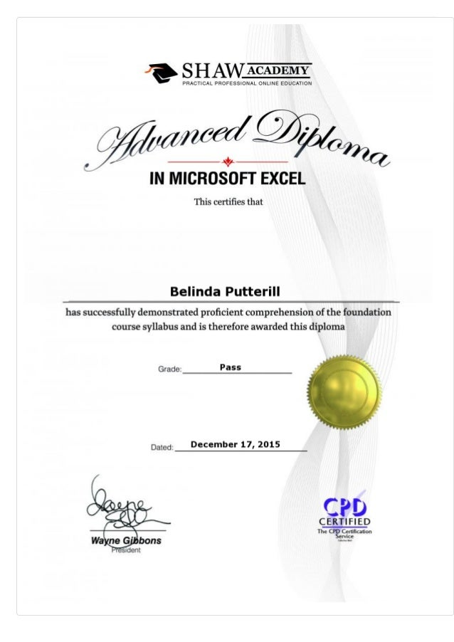 advanced diploma in microsoft excel final assessment 2015 belinda p