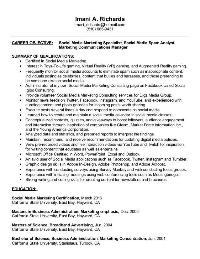 SlideShare  Social Media Marketing Resume