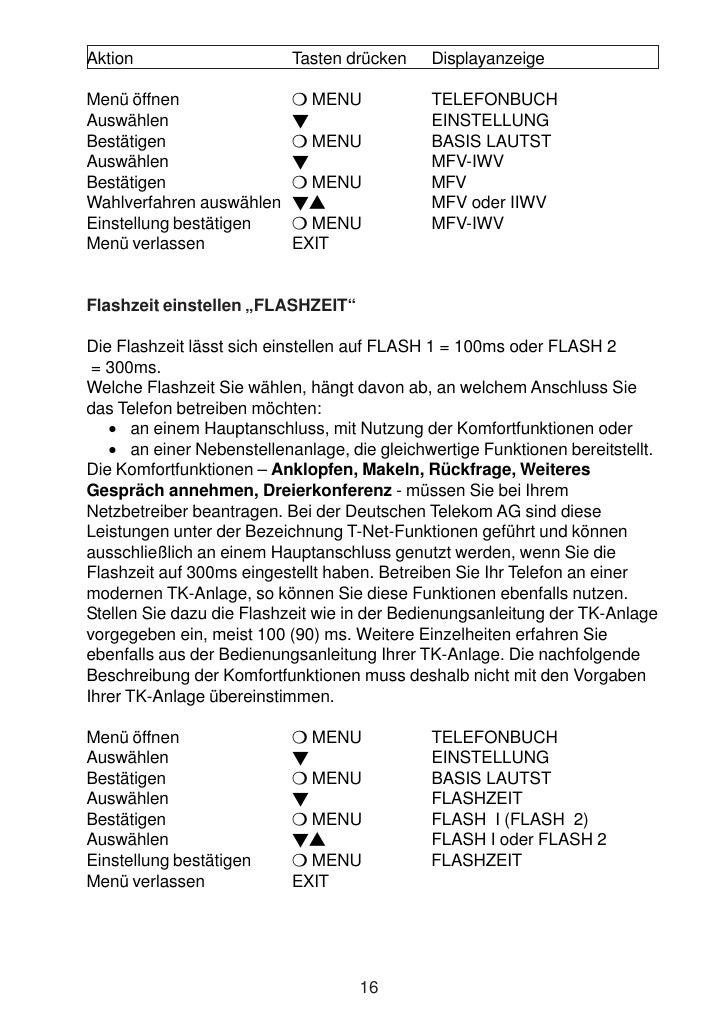 Aktion                     Tasten drücken    Displayanzeige  Menü öffnen               MENU               TELEFONBUCH Ausw...