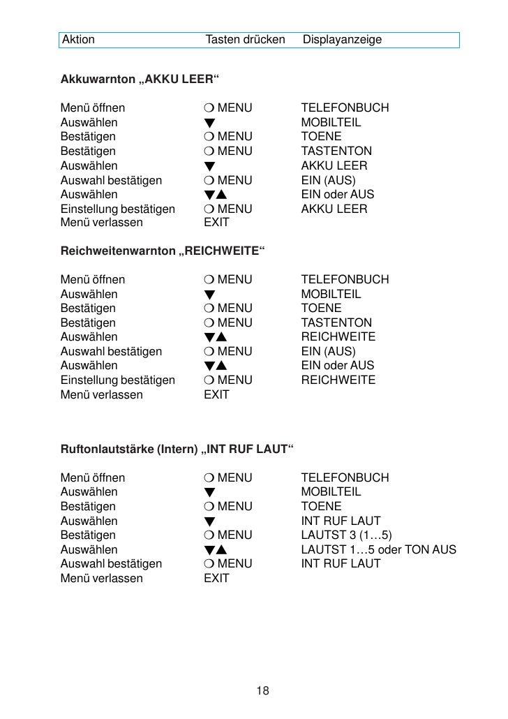 """Aktion                   Tasten drücken    Displayanzeige   Akkuwarnton """"AKKU LEER""""  Menü öffnen                MENU      ..."""
