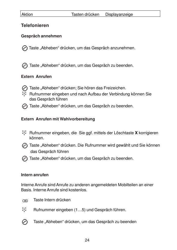 """Aktion                          Tasten drücken   Displayanzeige  Telefonieren  Gespräch annehmen      Taste """"Abheben"""" drüc..."""