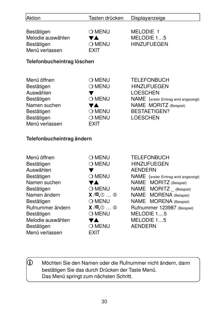Aktion                     Tasten drücken   Displayanzeige  Bestätigen                    MENU          MELODIE 1 Melodie ...