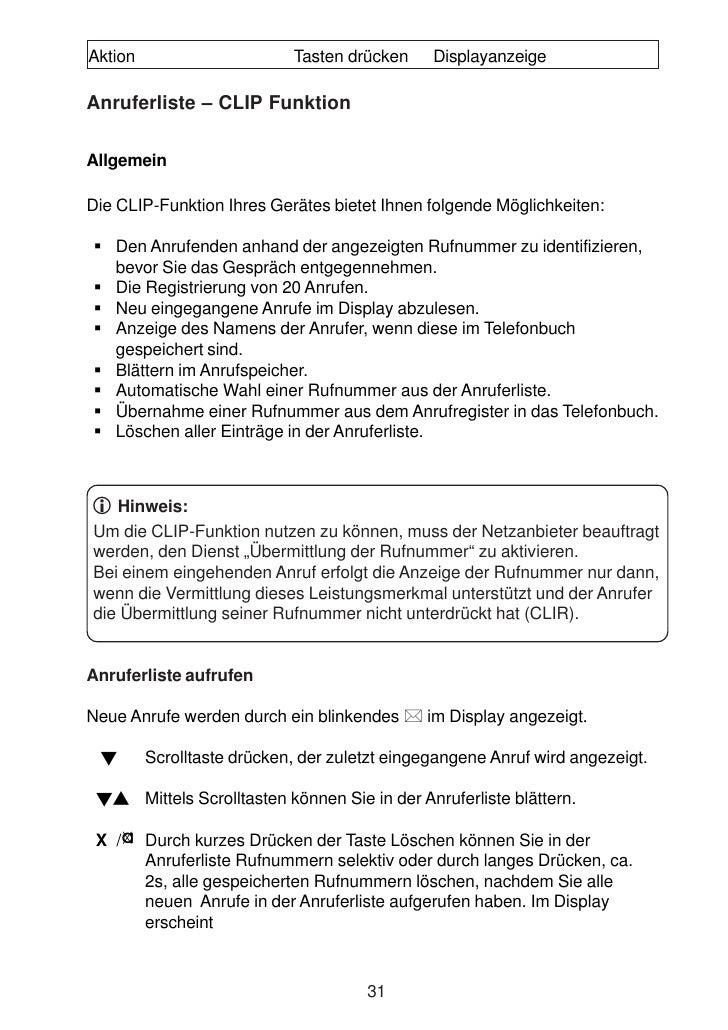 Aktion                        Tasten drücken     Displayanzeige  Anruferliste – CLIP Funktion  Allgemein  Die CLIP-Funktio...