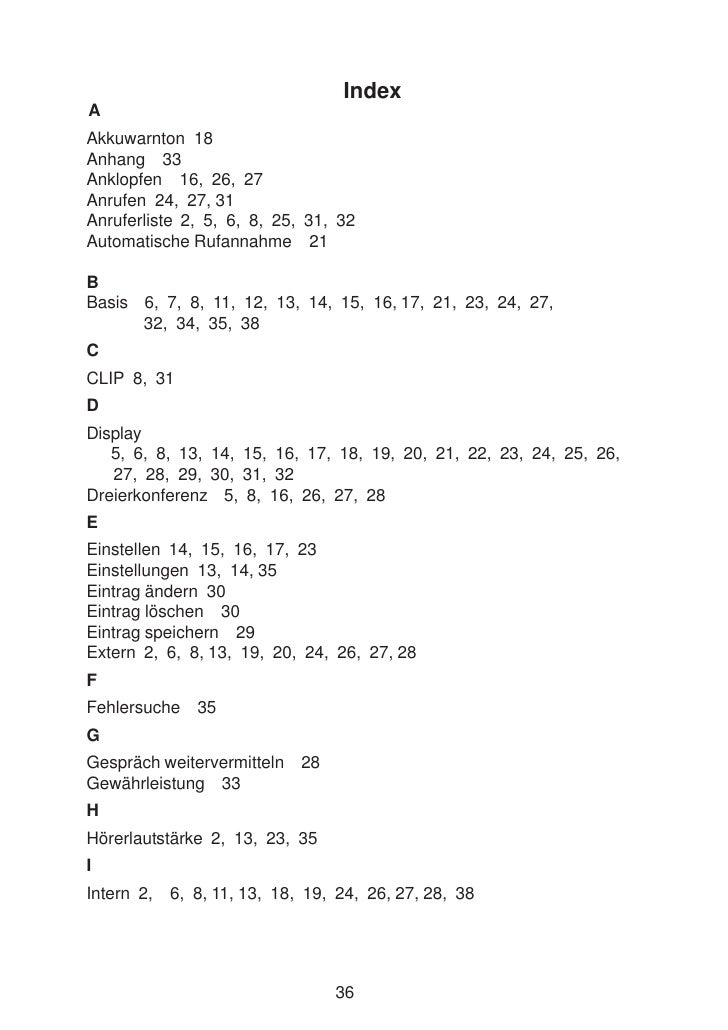 Index A Akkuwarnton 18 Anhang 33 Anklopfen 16, 26, 27 Anrufen 24, 27, 31 Anruferliste 2, 5, 6, 8, 25, 31, 32 Automatische ...