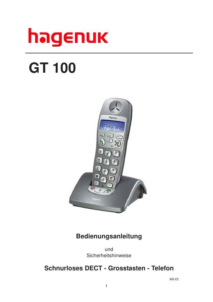 GT 100               Bedienungsanleitung                      und               Sicherheitshinweise   Schnurloses DECT - G...