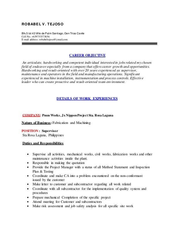 Robabel V Tejoso Updated Resume