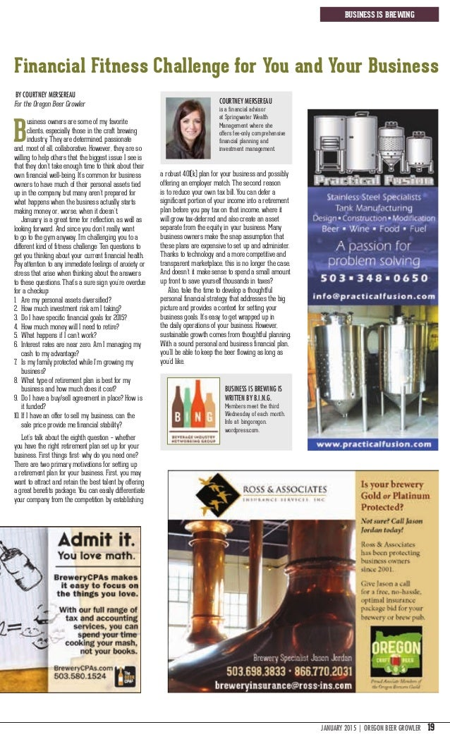 JANUARY 2015   oregon beer growler 19 business is brewing Financial Fitness Challenge for You and Your Business By Courtne...