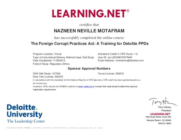 certifies that NAZNEEN NEVILLE MOTAFRAM has successfully completed the online course The Foreign Corrupt Practices Act: A ...