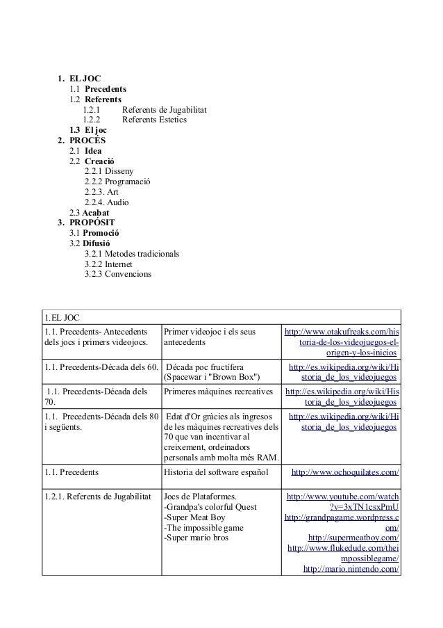 1. EL JOC      1.1 Precedents      1.2 Referents          1.2.1       Referents de Jugabilitat          1.2.2       Refere...