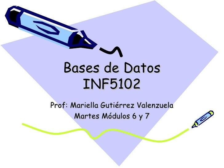Bases de Datos INF5102 Prof: Mariella Gutiérrez Valenzuela Martes Módulos 6 y 7