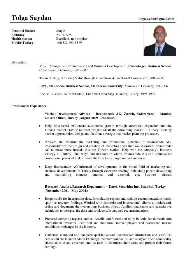 cv update tolga saydan september 2014