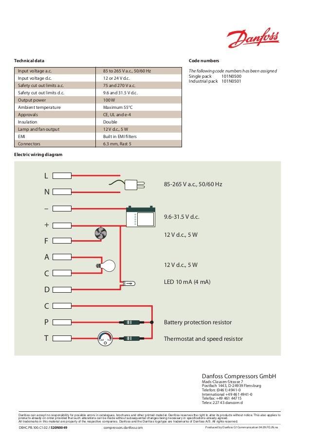 Wiring Diagram Danfoss Compressors  Single Phase Compressor