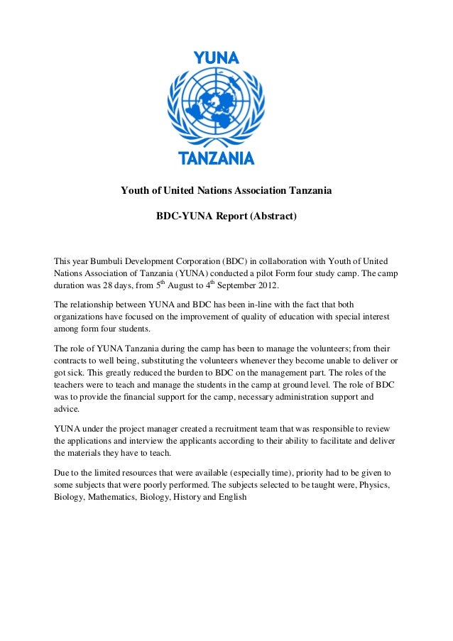 Youth of United Nations Association Tanzania                             BDC-YUNA Report (Abstract)This year Bumbuli Devel...
