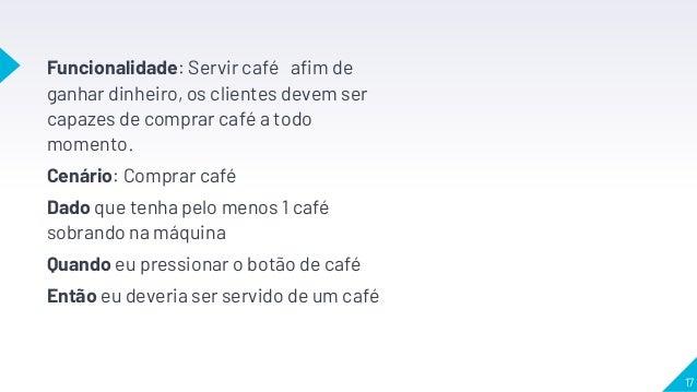 Funcionalidade: Servir café afim de ganhar dinheiro, os clientes devem ser capazes de comprar café a todo momento. Cenário...