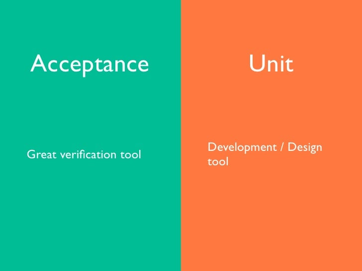 Acceptance testing is great...   • as a verification tool   • as a bridge between user needs and automated      tests      ...