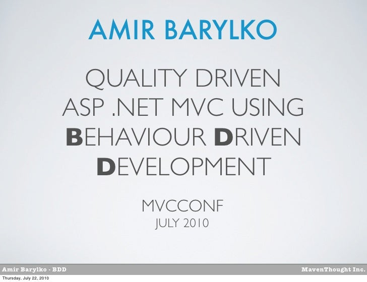 AMIR BARYLKO                           QUALITY DRIVEN                          ASP .NET MVC USING                         ...