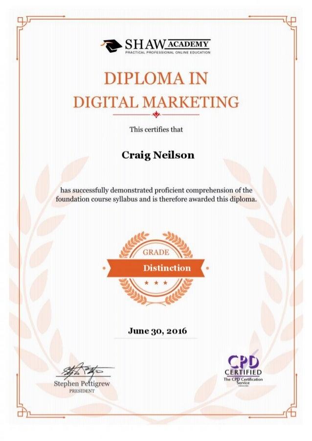 diploma marketing certificate digital slideshare upcoming